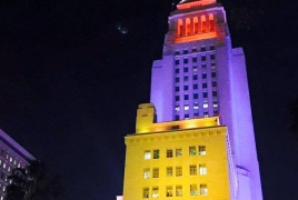Los Angeles City Hall lit up in Armenian tri-color
