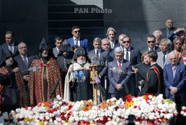 President, Aznavour, Clooney visit Genocide memorial