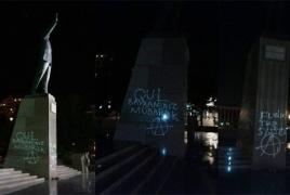 «С праздником рабов!»: Памятник Алиева-старшего  «украсили» граффити