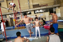 Armenian champions, worn out equipment, old gym