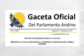 Andean Parliament recognizes Armenian Genocide