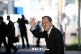 Ex-UN chief returns to S. Korea, hints at presidential bid