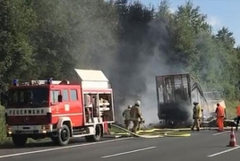 Many killed as tour bus bursts into flames after collision in Germany