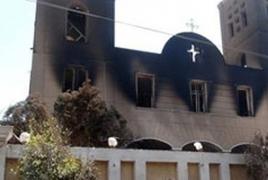 Raqqa Armenian church cross replaced with Islamic State flag