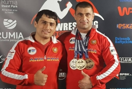 Armenian major who lost legs, hand wins World Armwrestling gold