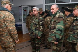 Karabakh, Armenian presidents visit Artsakh military units