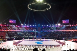 Armenia flag waving at 2018 Winter Olympic Games opening ceremony