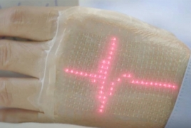 Electronic skin displays users' health stats