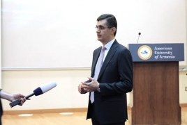 Ralph Yirikian gives a lecture at the American University of Armenia