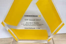 Ameriabank receives Commerzbank Excellent Quality prize for 10th time