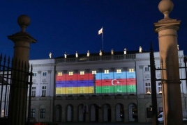 Poland Presidential Palace lights up in Armenian flag colors