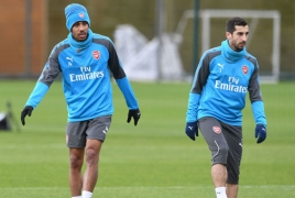 Arsenal stars going through shooting drills: Mkhitaryan on target