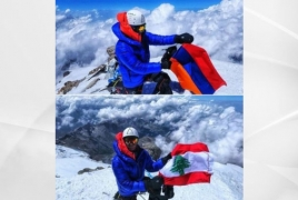 Armenian tricolor planted on Europe's highest peak