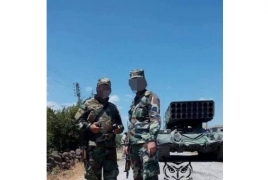Syrian troops pictured with TOS-1 flame throwers near Idlib