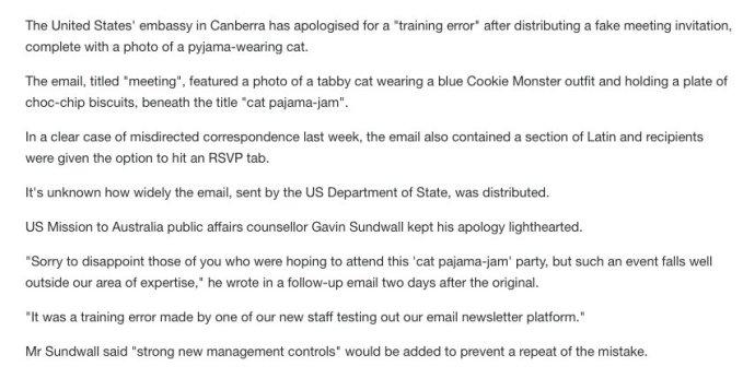 Госдеп США по ошибке разослал приглашения на вечеринку с котами в пижамах