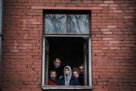 Armenian refugees from Baku being driven out of Moscow residence