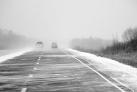 На автодороге Ланджик-Ахурян в Армении наблюдается туман