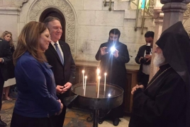 Pompeo visits Armenian chapel of Jerusalem's Holy Sepulcher Church