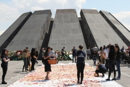 Traditional flower gathering held at Armenian Genocide memorial