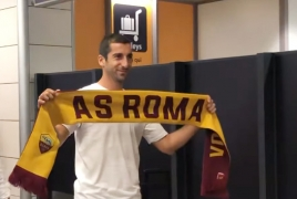 Henrikh Mkhitaryan arrives in Rome to conclude move to Roma