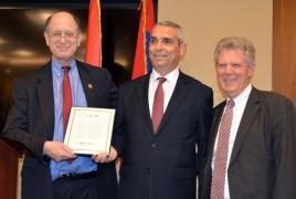 U.S. Congressmen hand copy of Armenian Genocide bill to Artsakh FM