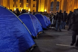Tbilisi protesters set up tents in city center