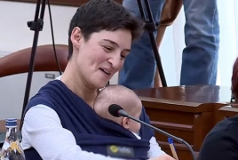 Yerevan Councilmember takes infant baby to work
