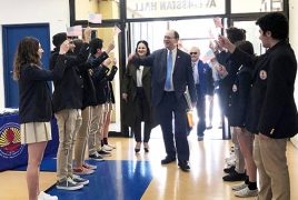 Congressman visits Armenian school in California