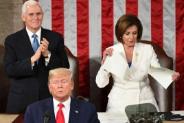 Pelosi rips copy of Trump's speech after he refuses to shake her hand