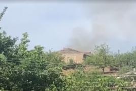 Footage of Azerbaijani artillery pounding Armenian villages