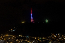 Телебашня Тбилиси окрасилась в цвета армянского триколора