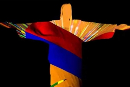 Armenia tribute projected on Christ the Redeemer in Rio