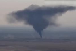 Опубликовано видео уничтожения азербайджанской базы горюче-смазочных материалов