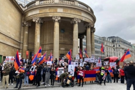 Armenians stage rally outside BBC headquarters in London