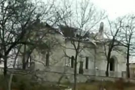Azeris destroy domes of Armenian church in Karabakh's Shushi