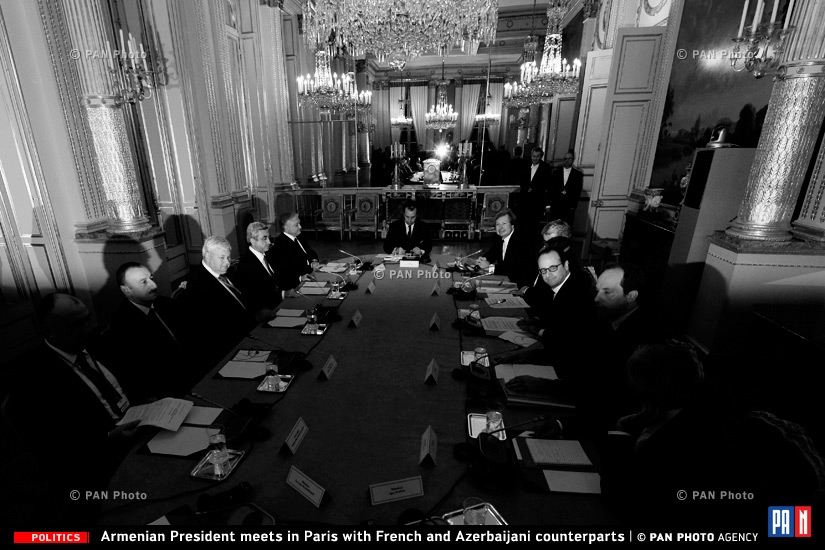 Armenian President Serzh Sargsyan meets with French and Azerbaijani counterparts