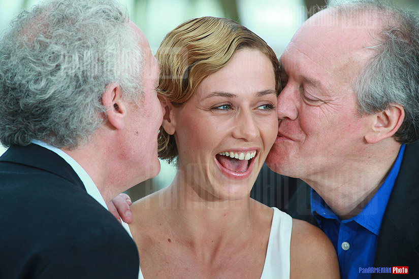Jean-Pierre Dardenne (L) and Luc Dardenne (R) with Cecile de France