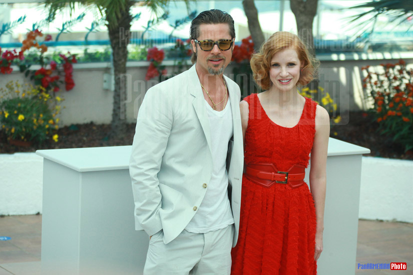 Brad Pitt and Jessica Chastain
