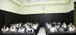 Prime Minister Tigran Sargsyan conducts the last lesson with schoolchildren in Government building