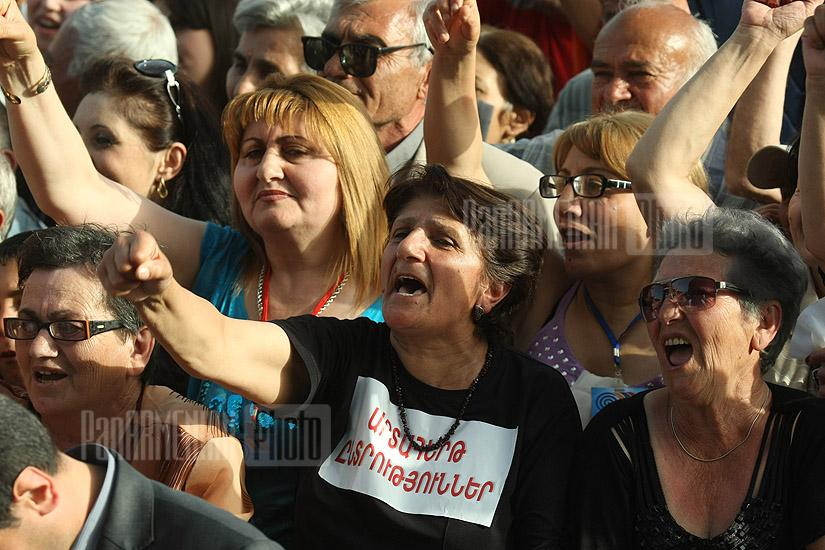ANC Protest Rally with participation of recently amnestied oppositionists Nikol Pashinyan and Sasun Mikaelyan takes place at Liberty Square of Yerevan