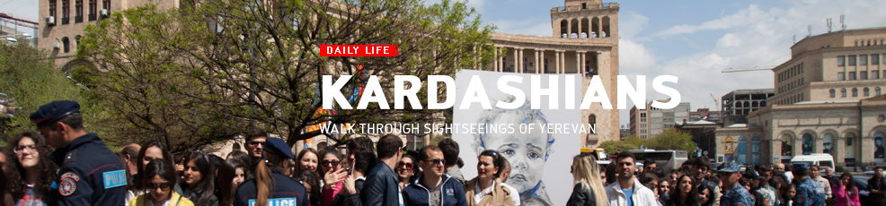 Kim Kardashian and Khloe Kardashian take a walk through sightseeings of Yerevan