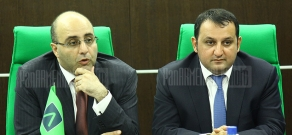 Press conference of Ameriabank's retail banking director Vazrik Sekoyan and the bank's development director Tigran Jrbashyan