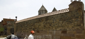 Fence surrounding Gandzasar Monastery is being coated