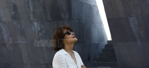 French actress Fanny Ardant visits Armenian Genocide Memorial