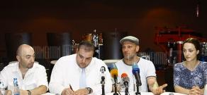 Press conference of musician Arto Tunçboyaciyan about winning grammy award