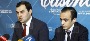 Press conference of Deputy Director of Ingo Armenia insurance company Arevshat Meliksetyan and lawyer Taron Simonyan