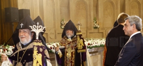 RA Catholicos Karekin II and head of the Catholicosate of the Great House of Cilicia Aram I deliver a liturgy dedicated to Independence Day