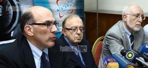 Press conference of AUA President Emeritus Mihran Agbabian, AUA President Bruce Boghosian, AUA Founder Armen Der Kiureghian