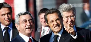 French president Nicolas Sarkozy's arrival in Armenia