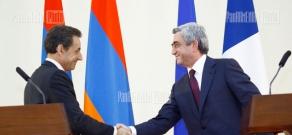 President Serzh Sargsyan receives French president Nicolas Sarkozy
